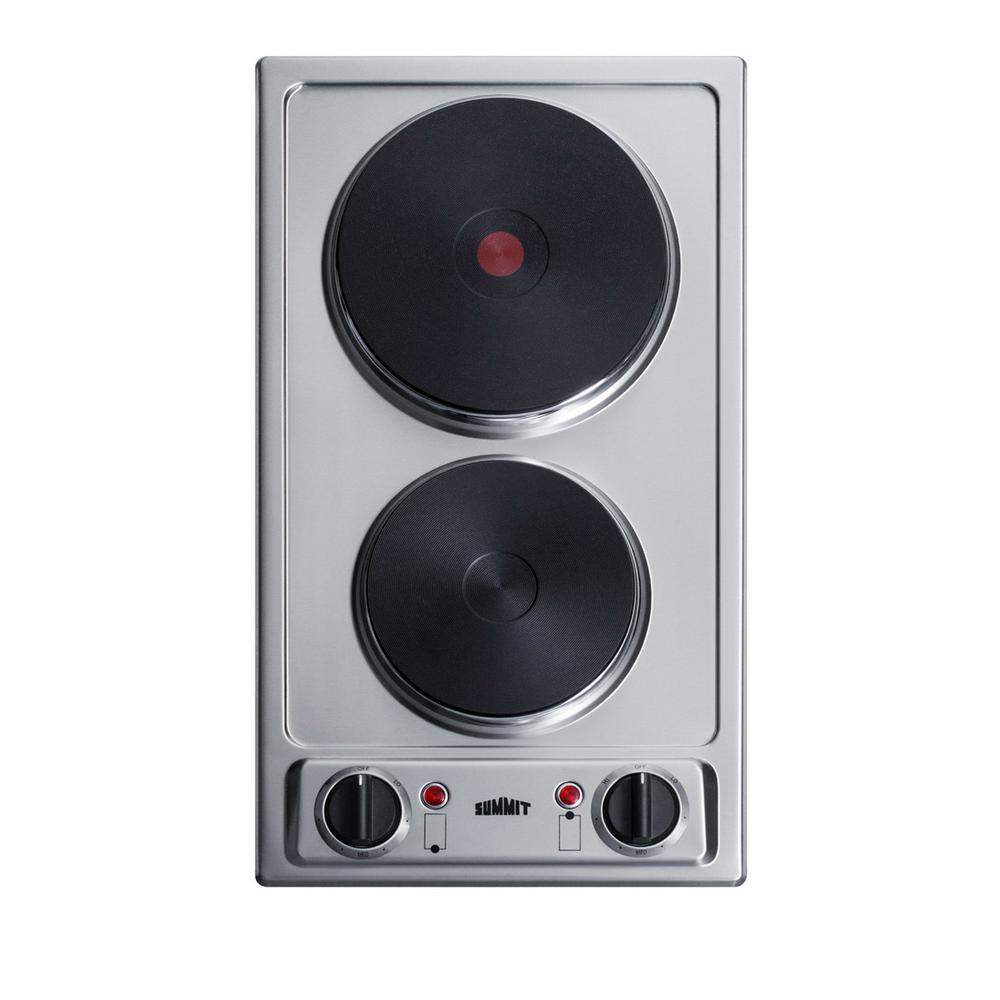 Solid Disk Electric Cooktop In Stainless Steel With 2 Elements