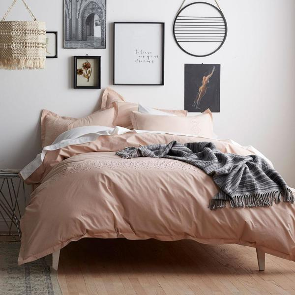 Duvet Covers.Tara Eyelet Blush King Duvet Cover
