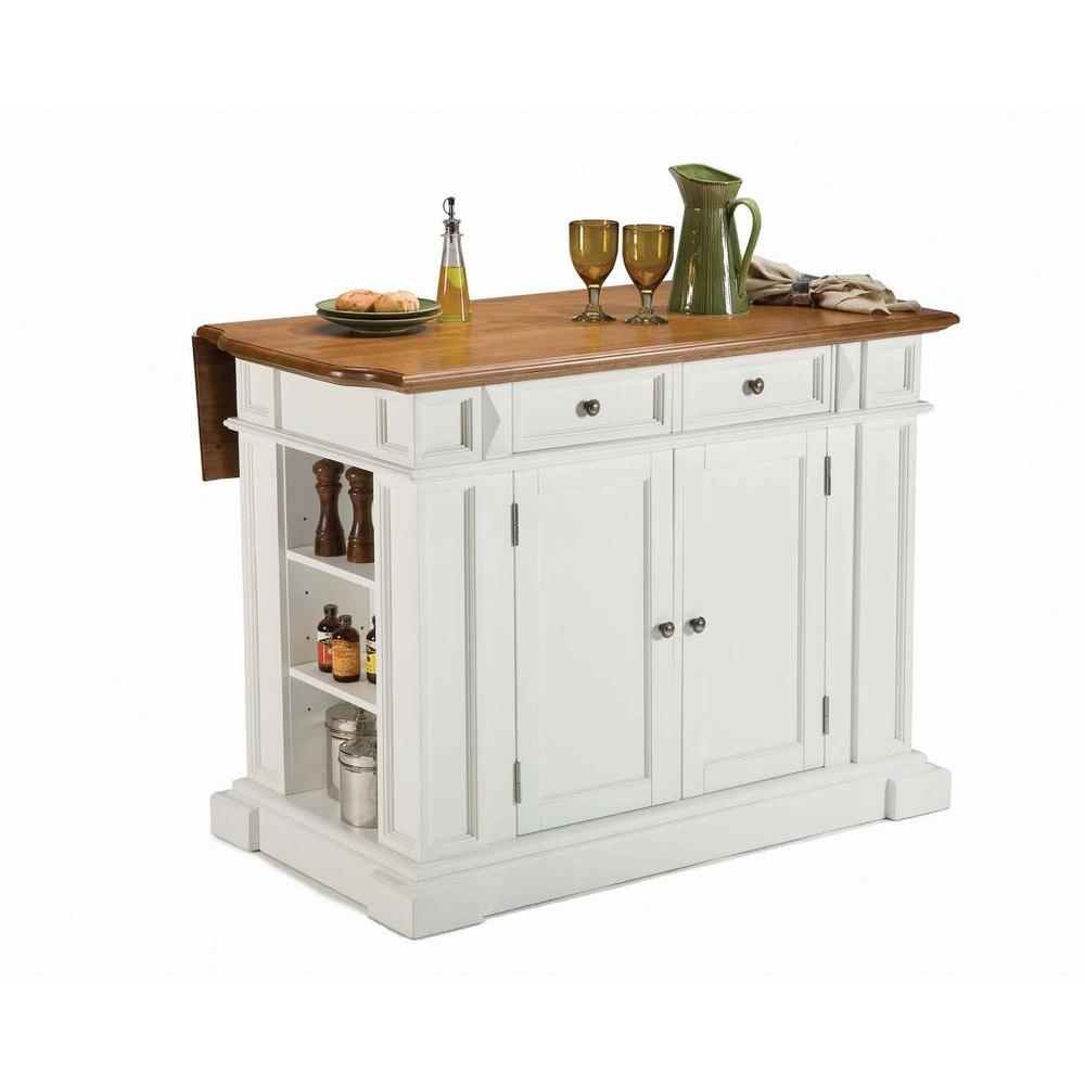 Americana White Kitchen Island With Drop Leaf