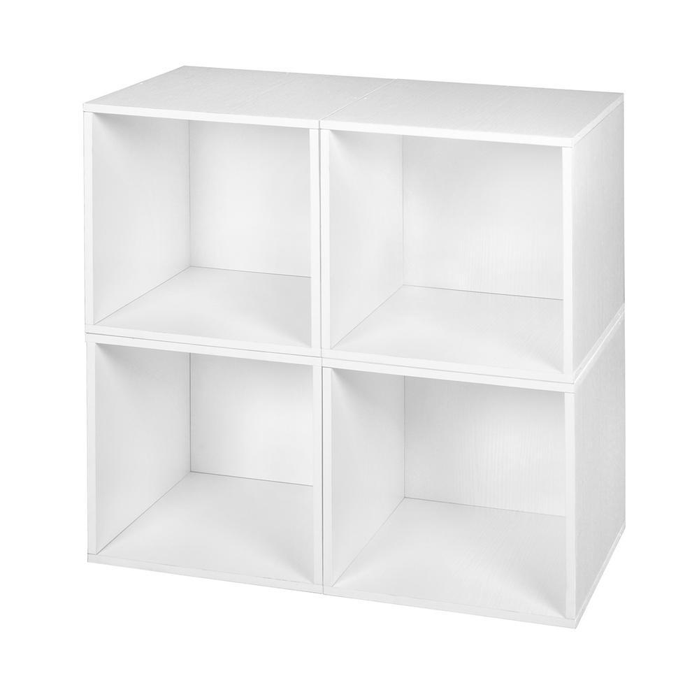 Cubo 13 in. x 13 in. White Wood Grain Modular 4-Cube Organizer