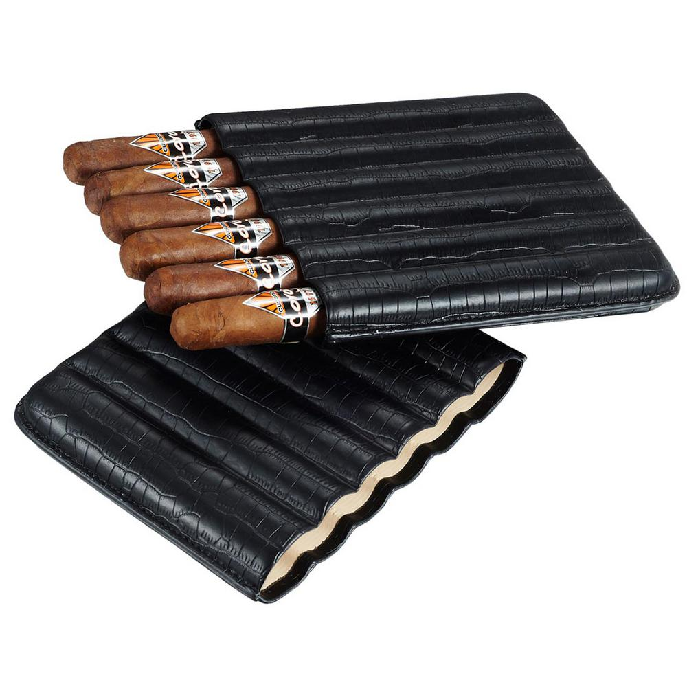 Cardona Black Leather 6-Cigar Case