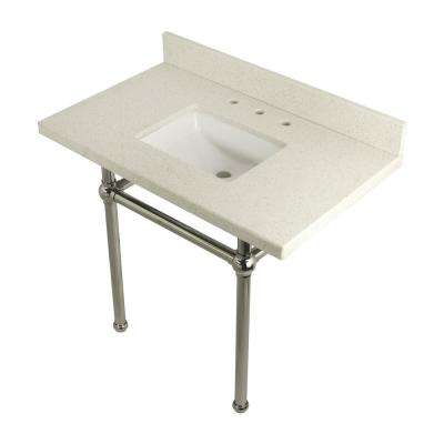Square-Sink Washstand 36 in. Console Table in White Quartz with Metal Legs in Polished Nickel