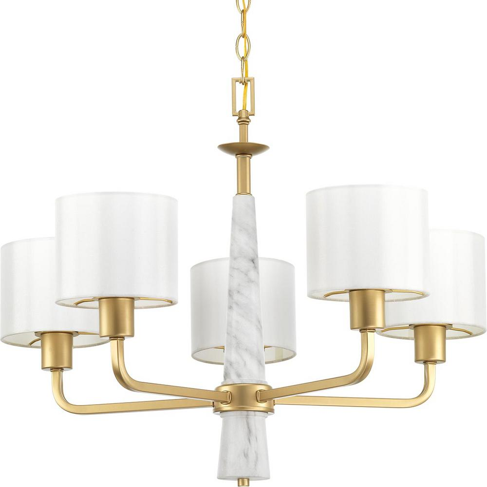 Progress Lighting Palacio Collection 5 Light Vintage Gold Chandelier With Shade
