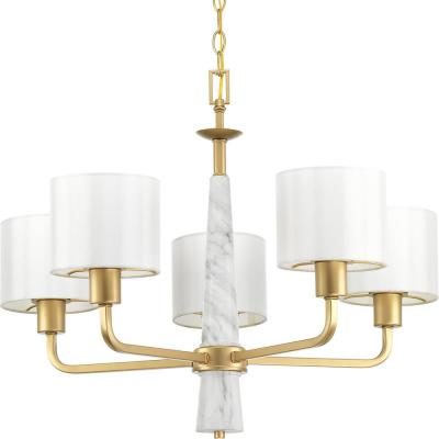Palacio Collection 5-Light Vintage Gold Chandelier with Shade