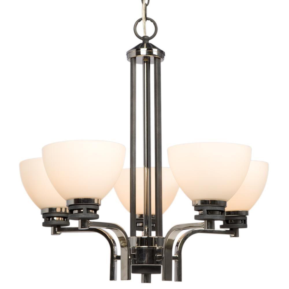 Filament Design Negron 5-Light Chrome and Black Incandescent Chandelier