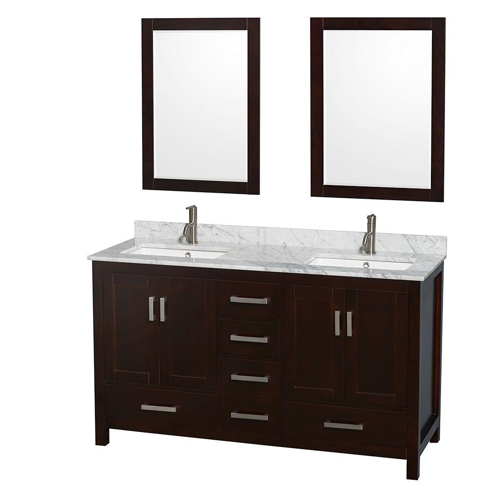 Wyndham Collection Sheffield 60 in. Double Vanity in Espresso with Marble Vanity Top in Carrara White and 24 in. Mirrors