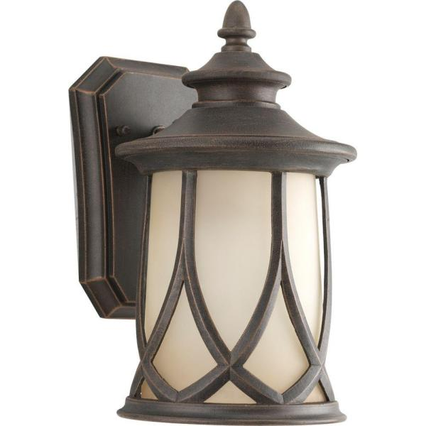 Resort Collection 1-Light 10.9 in. Outdoor Aged Copper Wall Lantern Sconce