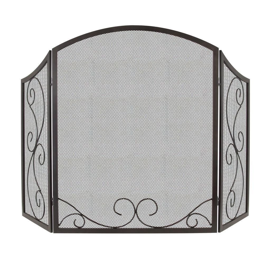 Iris 3-Panel Scroll Fireplace Screen in Black