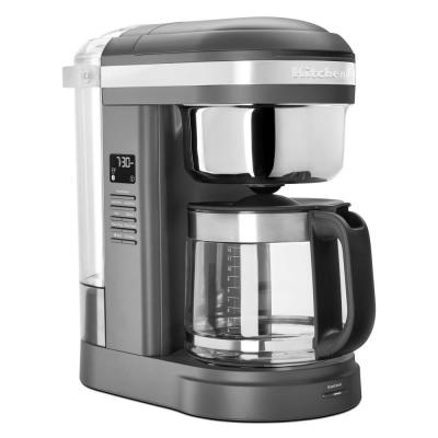 12-Cup Drip Grey Coffee Maker with Spiral Showerhead Matte Charcoal