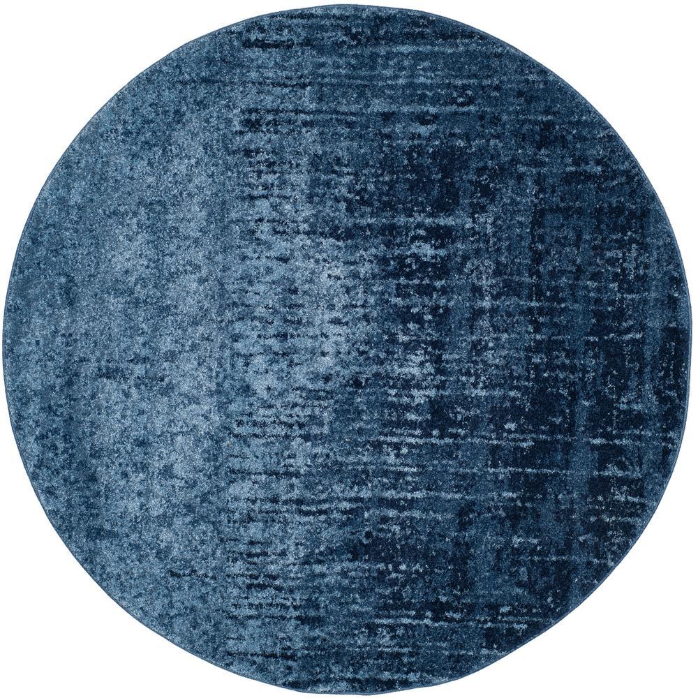 Retro Light Blue/Blue 8 ft. x 8 ft. Round Area Rug