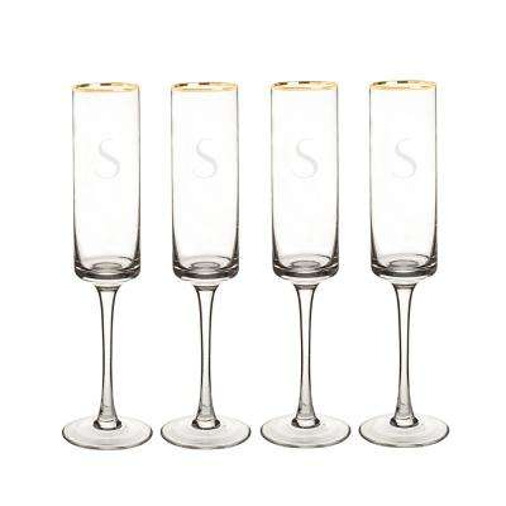 Personalized Gold Rim Contemporary Champagne Flutes - S