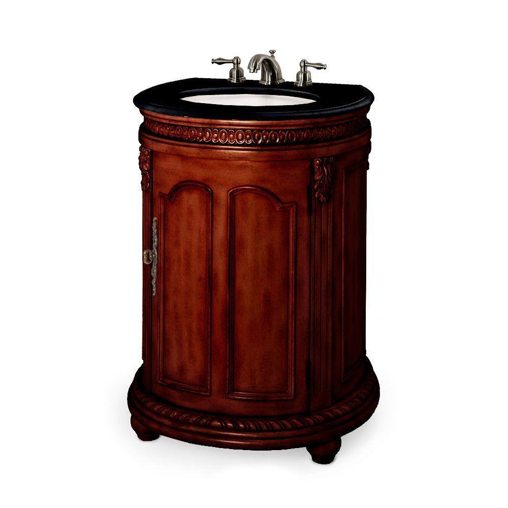 Home Decorators Collection Kendall 25 in. W x 21 in. D Vanity in Antique Cherry with Granite Vanity Top in Black