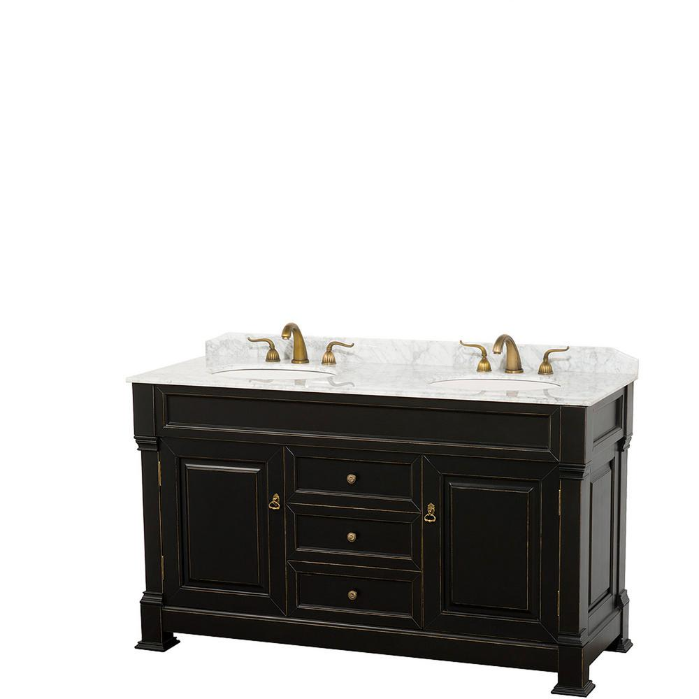 Andover 60 in. W x 23 in. D Bath Vanity in Black with Marble Vanity Top in White with White Basins