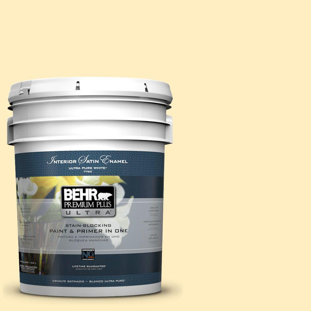 5-gal. #380A-2 Moonlit Yellow Satin Enamel Interior Paint