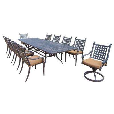 Extendable Cast Aluminum 11-Piece Rectangular Patio Dining Set with Sunbrella Cushions