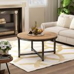 Rustic Design Brown Round Coffee Table