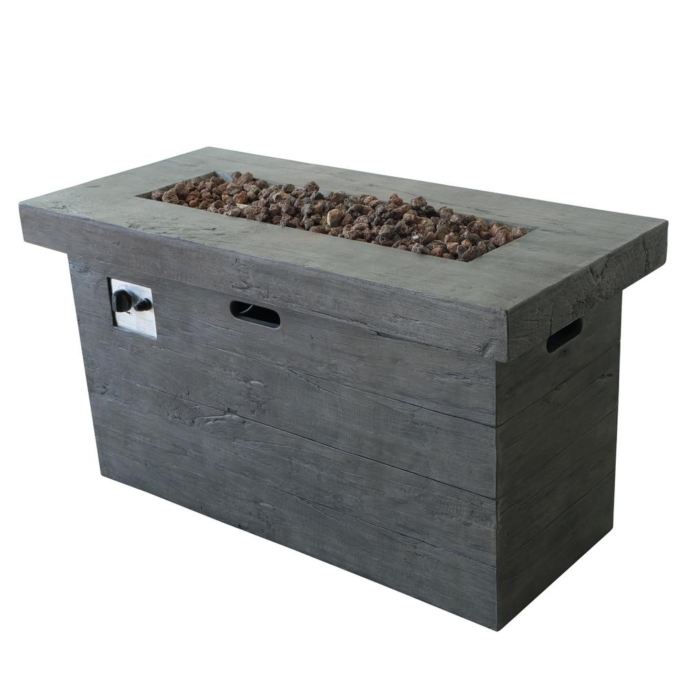 Noble House Sergio 45 in. x 25 in. Rectangular MGO Propane Fire Pit in Grey