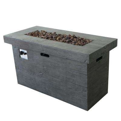 Sergio 45 in. x 25 in. Rectangular MGO Propane Fire Pit in Grey