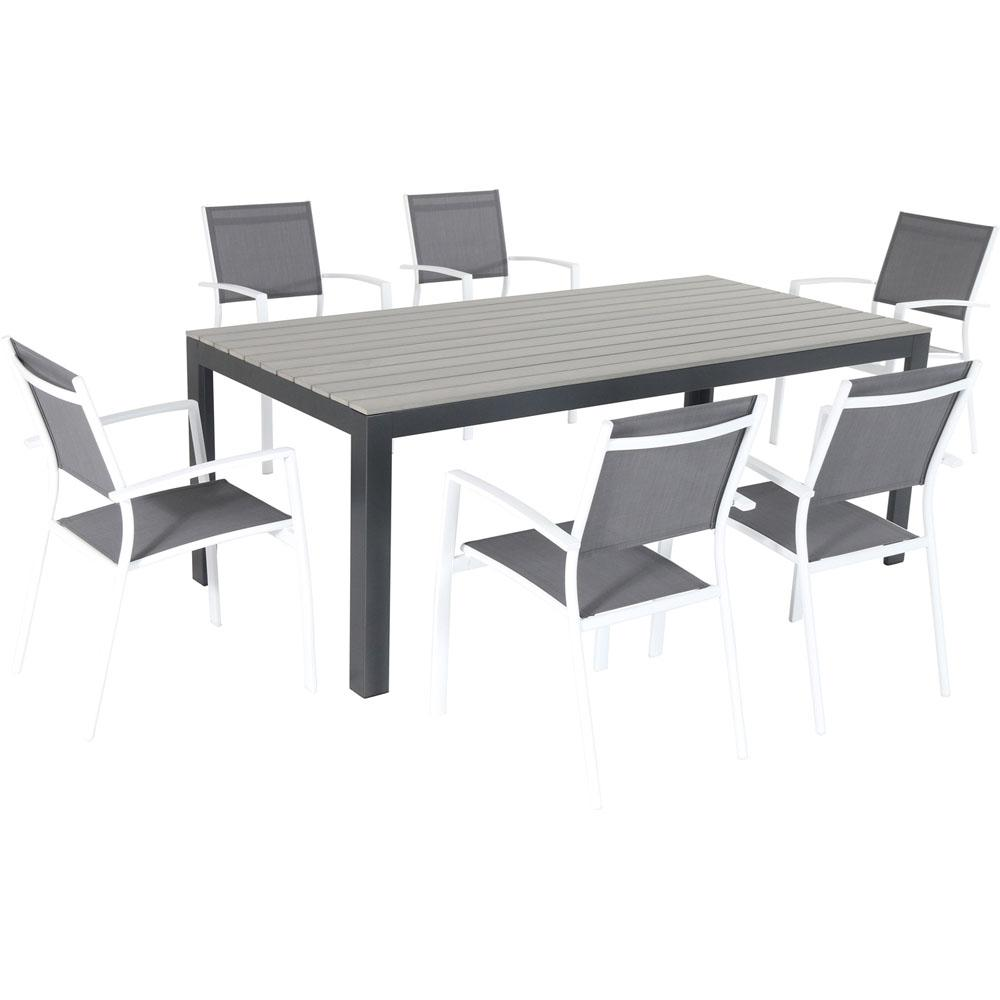 Tucson 7 Piece Aluminum Outdoor Dining Set With 6 Sling Arm Chairs And A Faux Wood Table