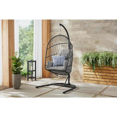 Collapsible Steel Rope Folding Patio Swing with Black Base and Gray Cushions