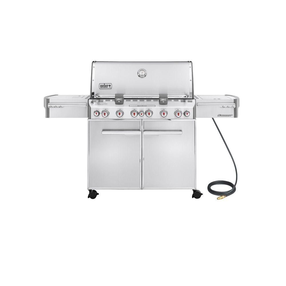 weber summit s 670 6 burner natural gas grill in stainless. Black Bedroom Furniture Sets. Home Design Ideas