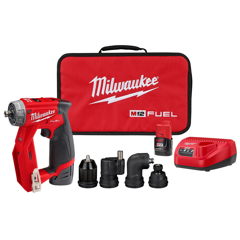 Milwaukee Milwaukee M12 FUEL 12-Volt Lithium-Ion Brushless Cordless 4-in-1 Installation 3/8 in. Drill Driver Kit W/ 4 Tool Heads