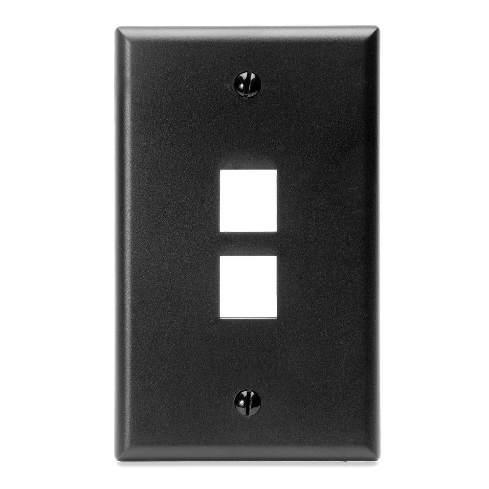 1-Gang QuickPort Standard Size 2-Port Wallplate, Black
