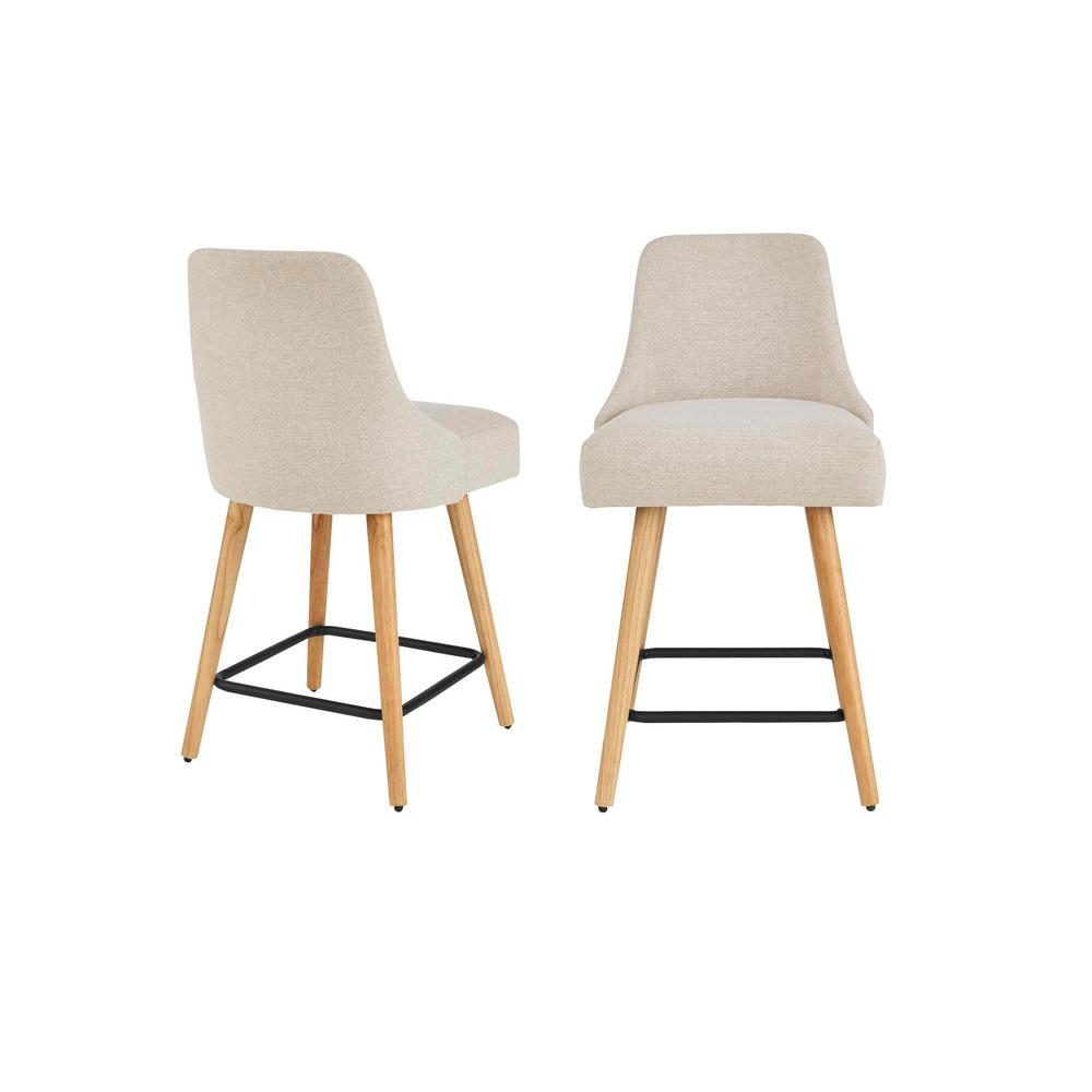 Stylewell StyleWell Benfield Wood Upholstered Counter Stool with Back and Biscuit Beige Seat (Set of 2) (19.48 in. W x 36.02 in. H), Biscuit/Natural
