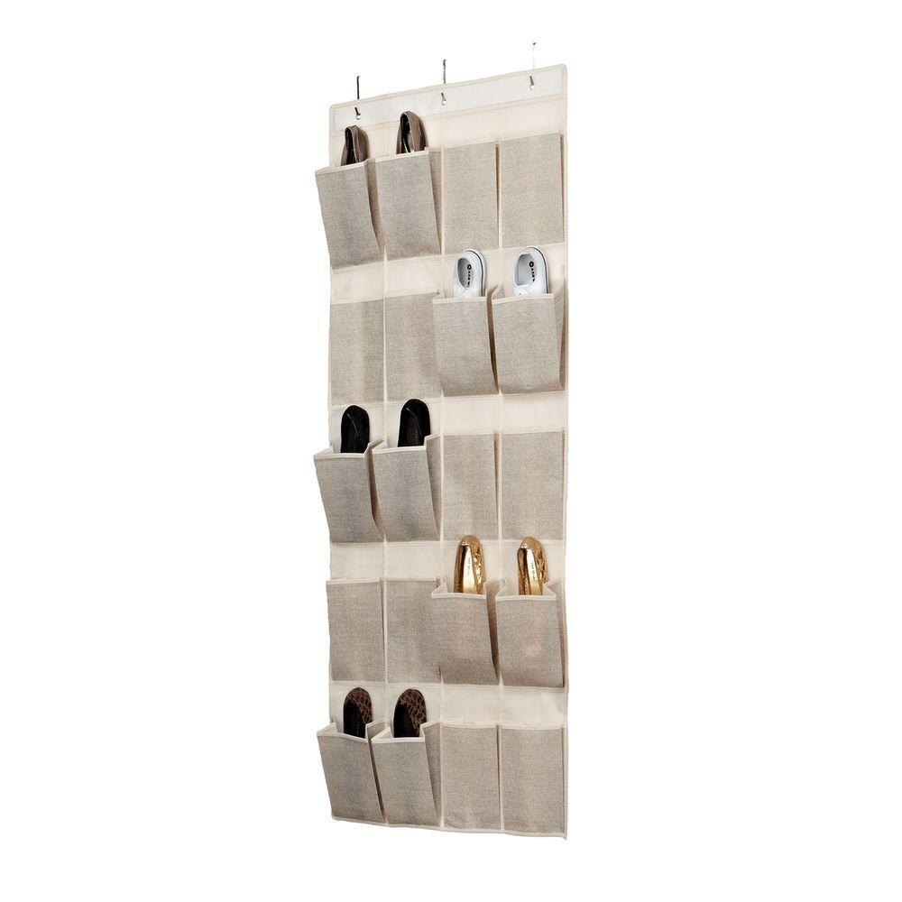 Simplify 20-Pocket Over-the-Door Shoe Organizer in Faux Jute