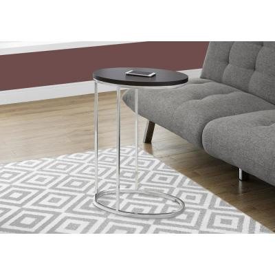 Cappuccino Accent Table with Chrome Metal