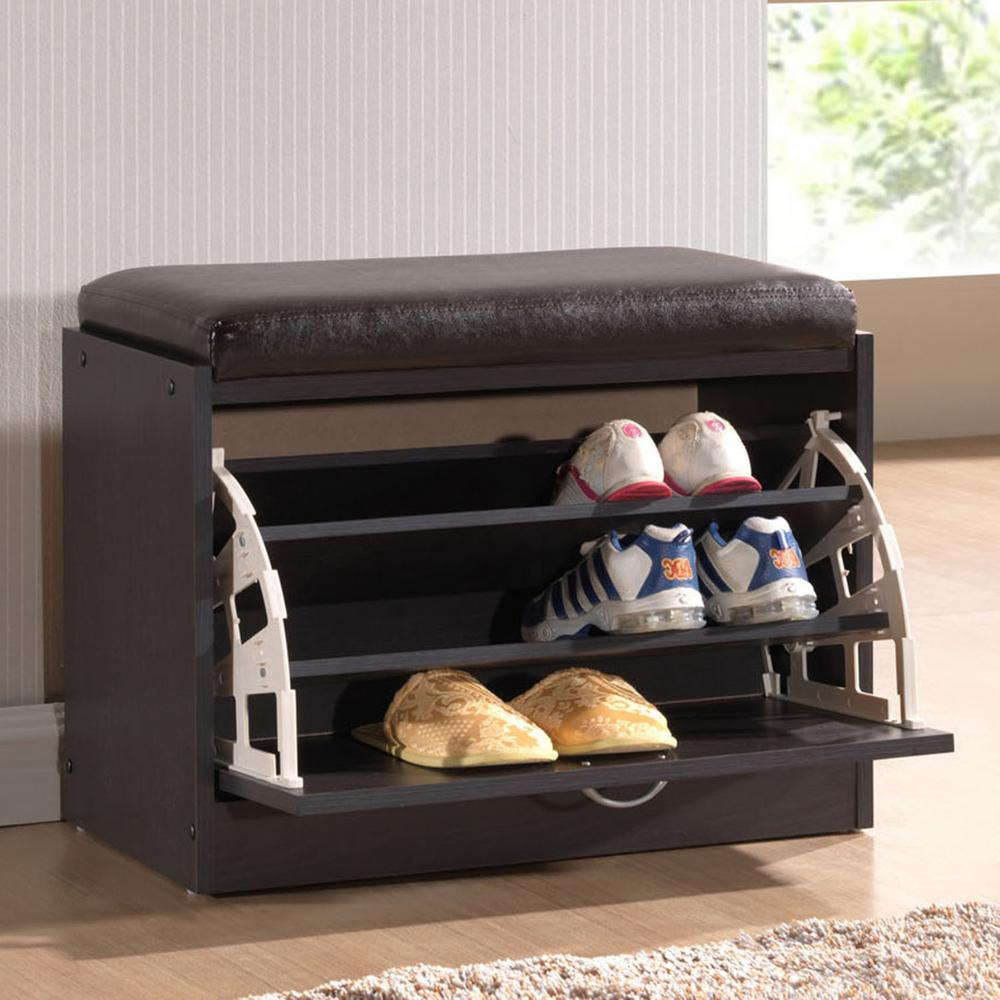 Awesome Baxton Studio 1 Pair Shir Dark Brown Wood Storage Shoe Organizer