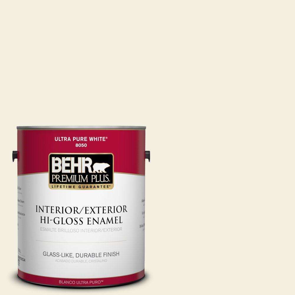 BEHR Premium Plus 1-gal. #GR-W1 White Wool Hi-Gloss Enamel Interior/Exterior Paint