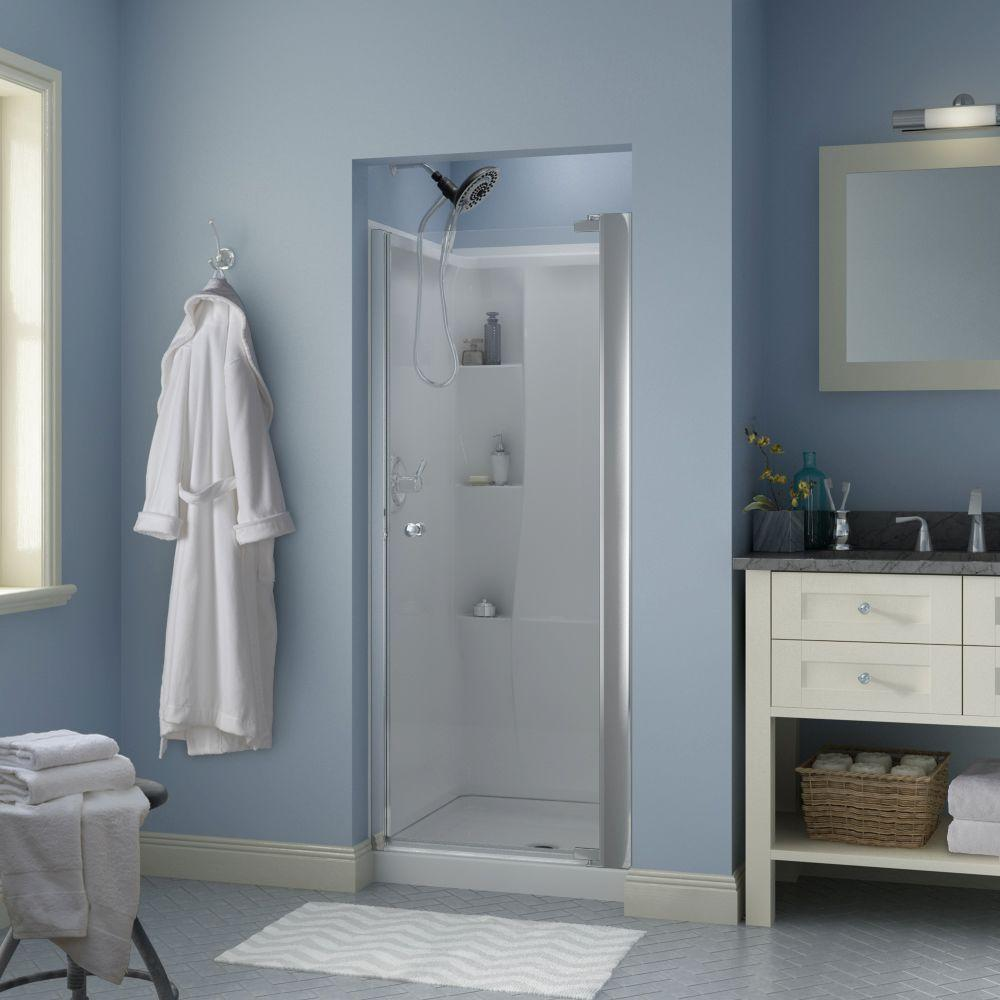 Silverton 30 in. x 64-3/4 in. Semi-Frameless Contemporary Pivot Shower Door