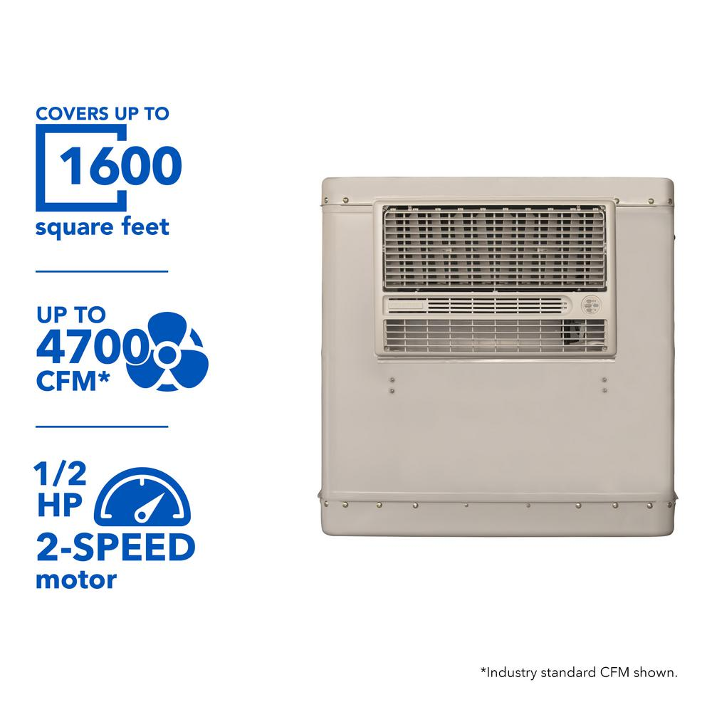 4700 CFM 2-Speed Window Evaporative Cooler for 1600 sq. ft. (with Motor and Remote Control),  Cool Sand