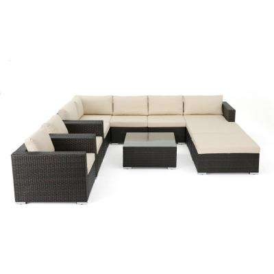 Dominique 10-Piece Wicker Outdoor Sectional Set with Beige Cushion