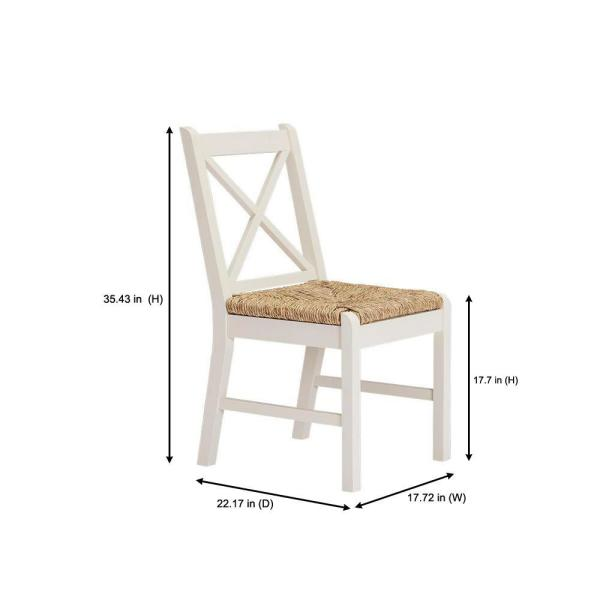 Home Decorators Collection - Dorsey Ivory Wood Dining Chair with Cross Back and Rush Seat (Set of 2) (17.72 in. W x 35.43 in. H)