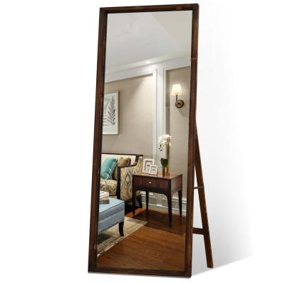 Retro 65 in. x 22 in. Distessed Brown Wood Frame Floor Mirror Full Length Standing for Farmhouse