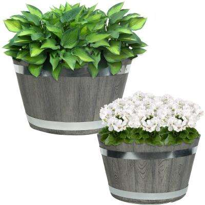 Chateau 14 in. and 17 in. Gray Fiber Clay Round Barrel Durable Indoor/Outdoor Use Planter Flower Pot Set (2-Piece)
