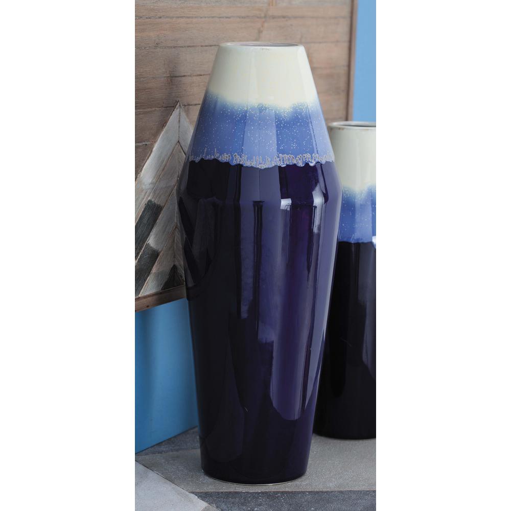 21 in. Rhombus Blue and White Gradients Ceramic Decorative Vase