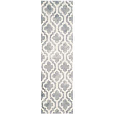Dip Dye Gray/Ivory 2 ft. x 10 ft. Runner Rug
