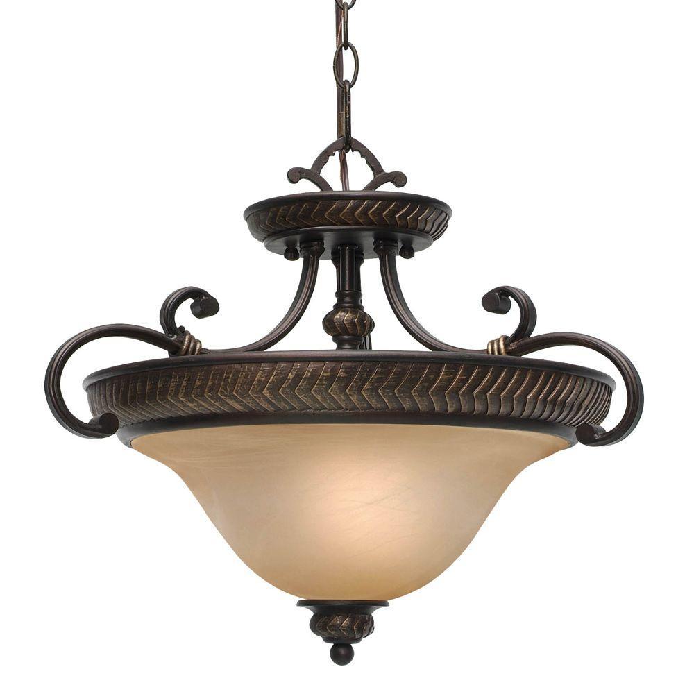 Jefferson Collection 3-Light Etruscan Bronze Semi-Flush Mount/Pendant Convertible