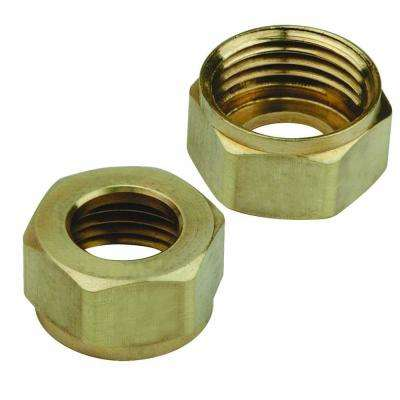 1/2 in. Brass Faucet-Shank Nuts for 3/8 in. Tubing (2-Pack)
