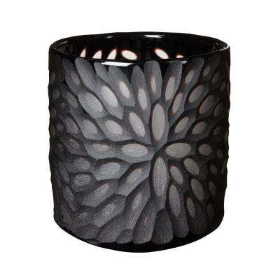 6 in. Jet Black Bouquet Cut Votive Candle Holder