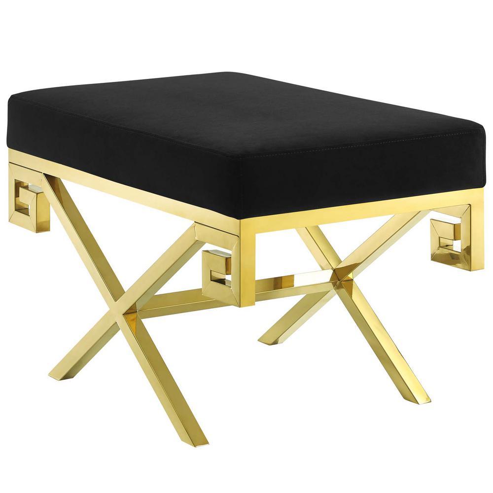 Gold Black Rove Velvet Bench