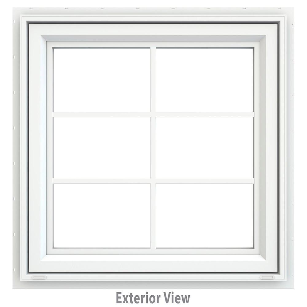 JELD-WEN 29.5 in. x 29.5 in. V-4500 Series White Vinyl ...