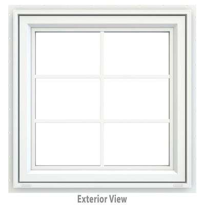 29.5 in. x 35.5 in. V-4500 Series White Vinyl Awning Window with Colonial Grids/Grilles