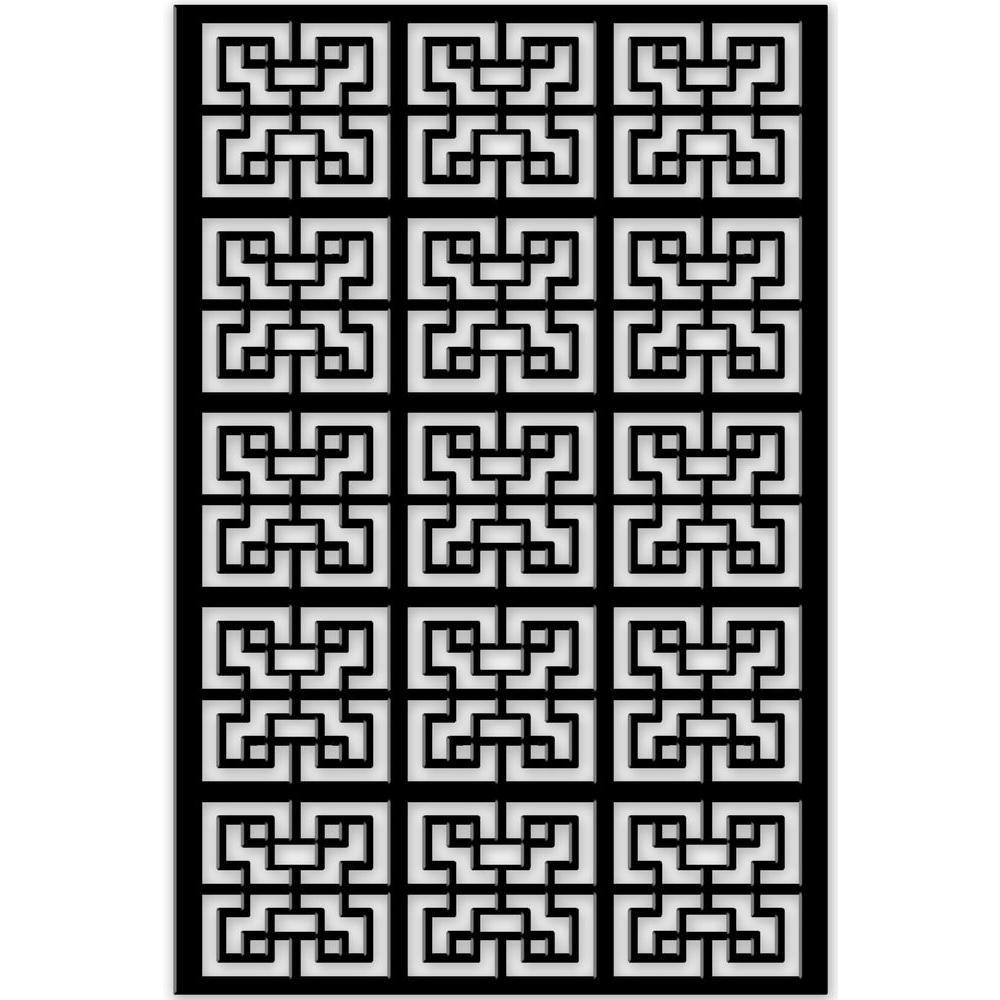 Chinese Maze 32 in. x 4 ft. Black Vinyl Decorative Screen Panel