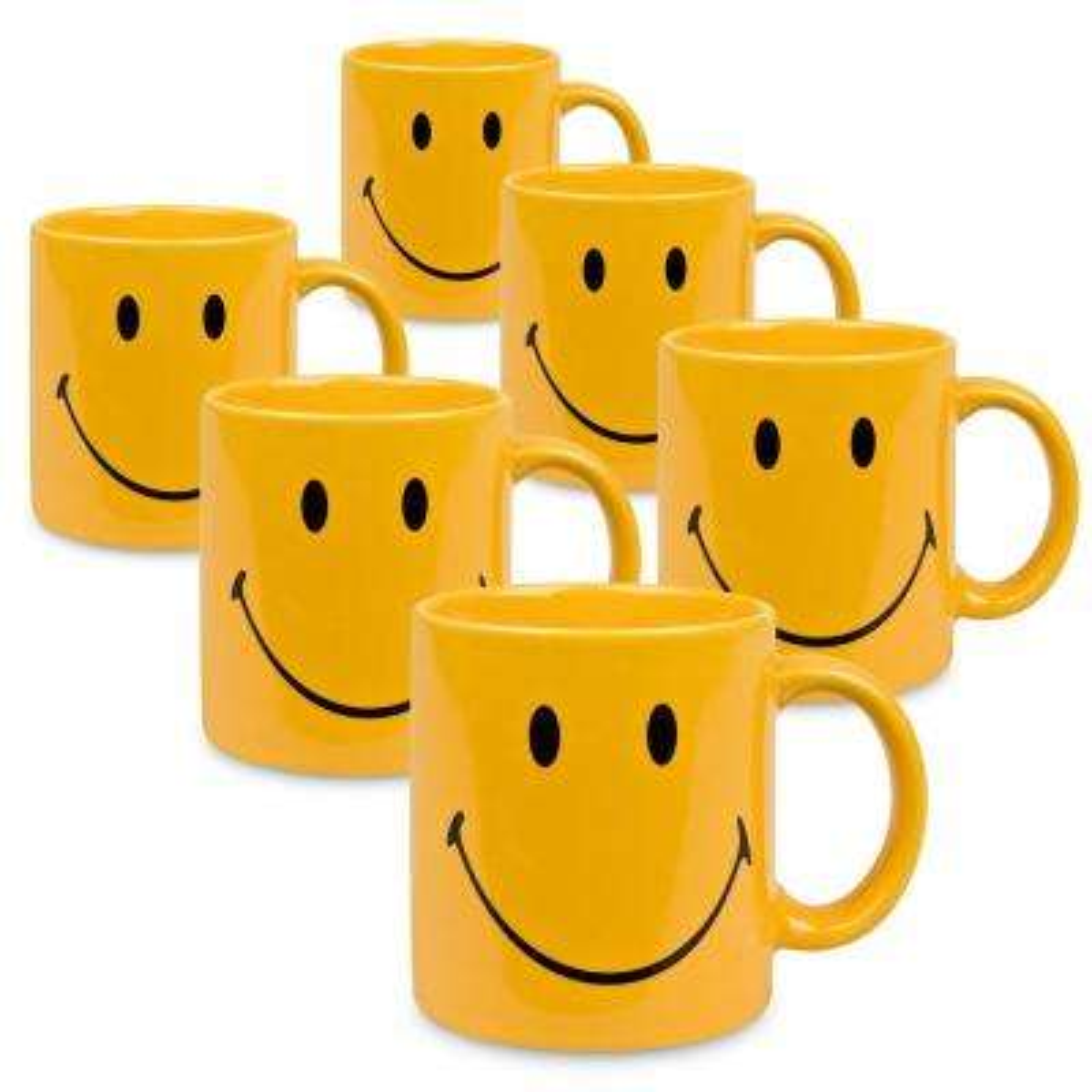 Waechtersbach 6-Piece Smiley Yellow Ceramic Mug Set
