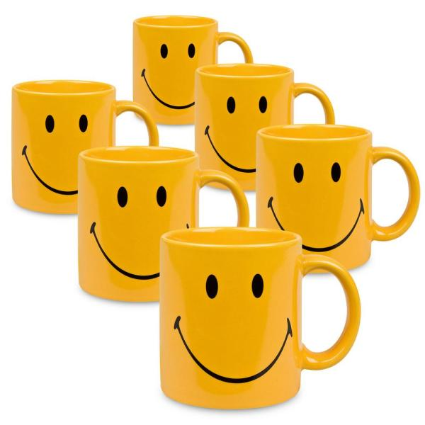 Waechtersbach 6-Piece Smiley Yellow Ceramic Mug Set