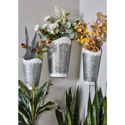Gray Iron Planters with White Accents  (Set of 3)